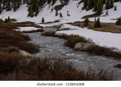 Beartooth River Rushes Along Snowy Bank in Late Spring