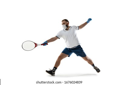 Beat the disease. Male tennis player in protective mask and gloves. Prevention against pneumonia. Still active while quarantine. Chinese coronavirus treatment. Healthcare, medicine, sport concept.