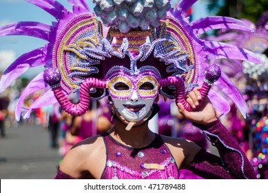 Beatifil and colorful mask display during the parade in Masskara Festival at Bacolod City , Philippines
