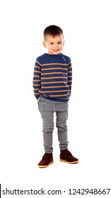 Beatiful child with jeans isolated on a white background