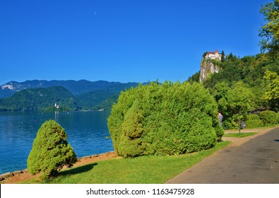 Beatiful Lake Bled with dominant Bled Castle, Slovenia. Lake Bled is a lake in the Julian Alps in northwestern Slovenia. The lake is of mixed glacial and tectonic origin.