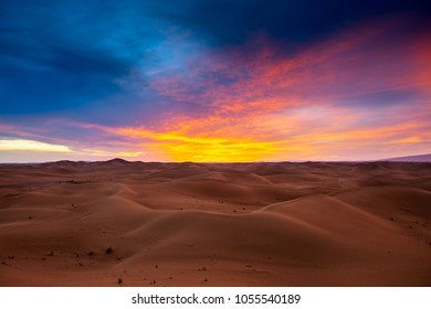 beatiful landscape with dramatic sunset in desert