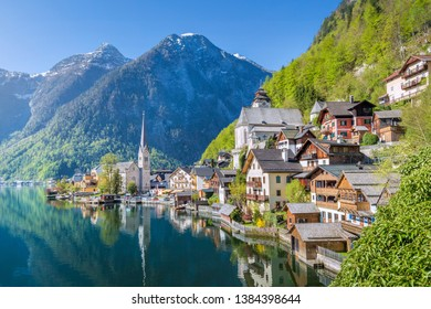 Beatiful morning in spring in a small town in the Alps, Hallstatt, Austria.