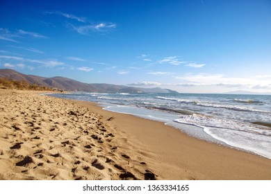 beatiful sandy beach in Maremma national park, natural reserve in Tuscany, Italy