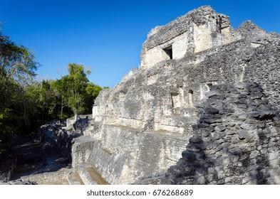 Beatiful temple in Becan Mayan ruins in the Yucatan peninsula, Mexico
