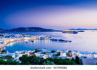 Beatiful twilight over Mykonos town, Mykonos island, Cyclades archipelago, Greece