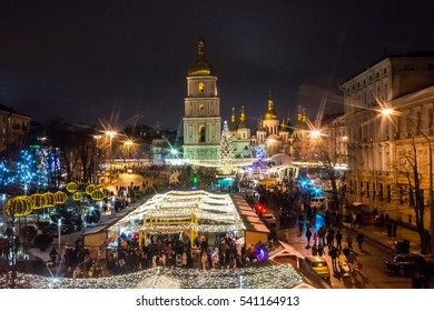 Beatiful view of Christmas on Sophia Square in Kyiv, Ukraine. Main Kyiv's New Year tree and Saint Sophia Cathedral on the background