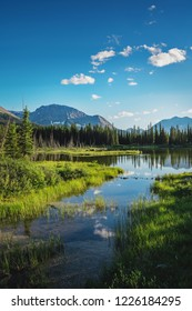 Beatiful view in Spray Lakes reservoir in Canada near Canmore, Calgary, Banff and Jasper national park