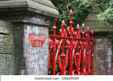 the beatles strawberry fields red iron gateway close up