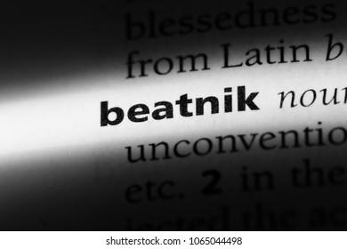 beatnik word in a dictionary. beatnik concept.