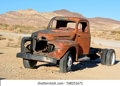 Beatty, Nevada, United States of America - November 22, 2017. Abandoned old pickup car in Rhyolite ghost town near Beatty, Nevada, United States of America.