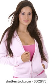 beatufil model wearing casual pink outfit with jacket