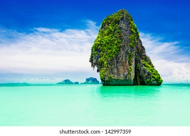 Beaty limestone rock in the ocean
