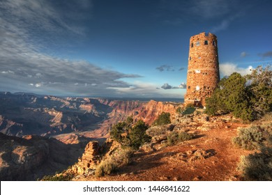 Beatyful  soft light of afternoon at the Grand Canyon with dramatic sky and Desert View Watchtower