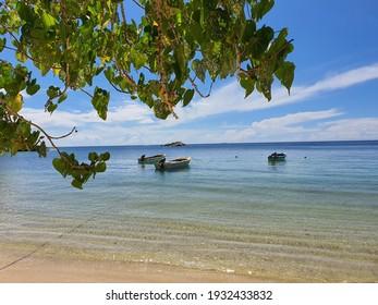 Beau Vallon Beach, Mahe Island, Seychelles - 26 March 2020: Panoramic view of Beau Vallon Bay in the Seychelles