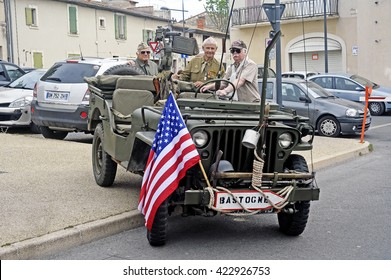 BEAUCAIRE, FRANCE - APRIL 30: military vehicle of the last world war exposed to a gathering of American motorcycles in the French department of Gard, april 30, 2016
