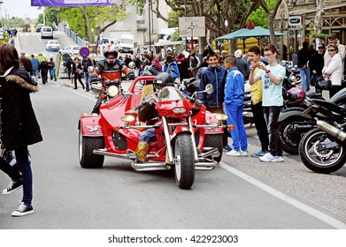 BEAUCAIRE, FRANCE - APRIL 30: A tricycle to a gathering of American motorcycle in the town of Beaucaire in the French department of Gard, april 30, 2016