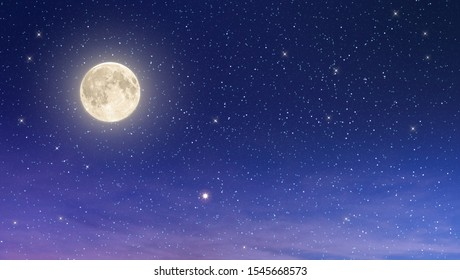beaufiful full moon with starry night sky in purple and blue shade , element moon from nasa - Shutterstock ID 1545668573