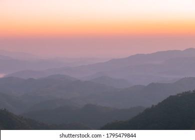 Beaufiful of twilight sunrise at Doi kat phi mountain in Chiang Rai, Thailand