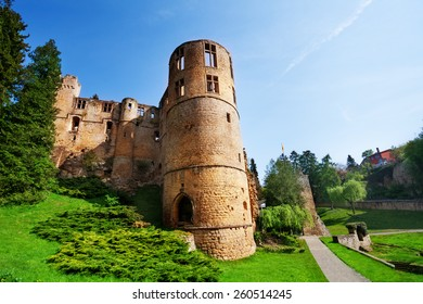 Beaufort castle ruins on spring day in Luxembourg