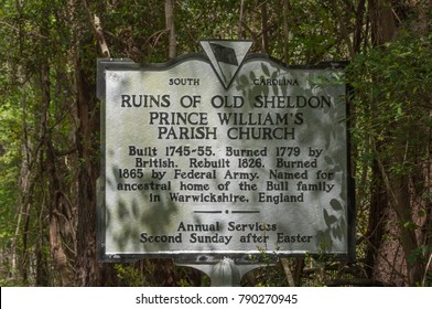 Beaufort County, South Carolina - March 27, 2012 - Sign at the Ruins of the Old Sheldon Church 17 miles north of Beaufort tells the history of the site.