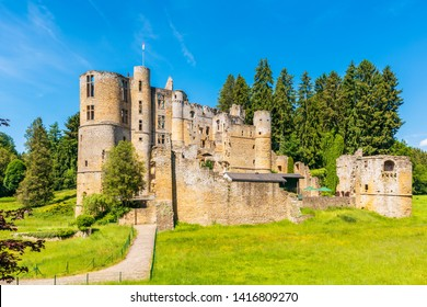 Beaufort, Luxembourg - June 2, 2019: The Old Castle of Beaufort in Beaufort, Luxembourg. It consists of the ruins of a medieval fortress and dates back to the 11th century.