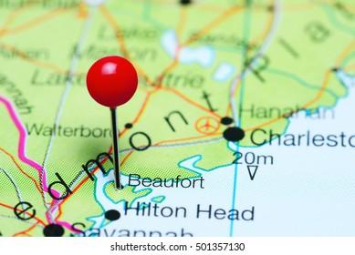 Beaufort pinned on a map of South Carolina, USA
