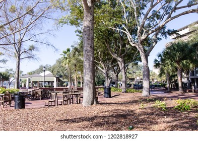 BEAUFORT, SC: Pretty city park with benches and tables in Beaufort South Carolina during a sunny day. This is a small southern town in the Southeastern United States