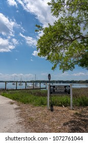 Beaufort, South Carolina - April 11, 2018: Welcome to Historic Beaufort sign is at the waterfront.