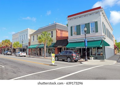BEAUFORT, SOUTH CAROLINA - APRIL 17 2017: Businesses on Bay Street near the waterfront in the historic district of downtown Beaufort, the second-oldest city in South Carolina.