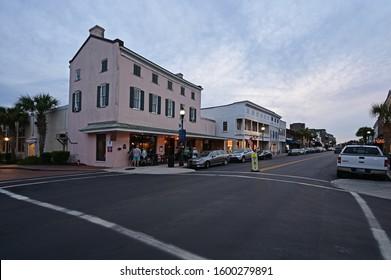 Beaufort, South Carolina - October 18, 2019: Dowtown historic district of Beaufort, South Carolina at dusk.