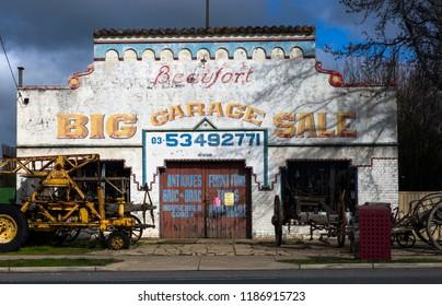 BEAUFORT, VICTORIA, AUSTRALIA - 07 AUGUST 2018: Historic art deco garage in the small western victorian town of Beaufort.