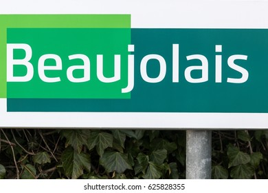 Beaujolais road sign in France