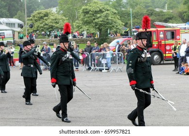 Beaulieu, Hampshire, UK - May 29 2017: Military Marching Band of the Winchester Rifles at the 2017 999 show at the National Motor Museum