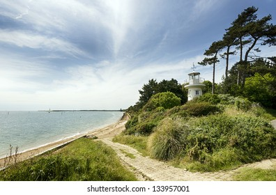The Beaulieu River Millennium Beacon also known as Lepe Lighthouse at Lepe in the New Forest National Park in Hampshire