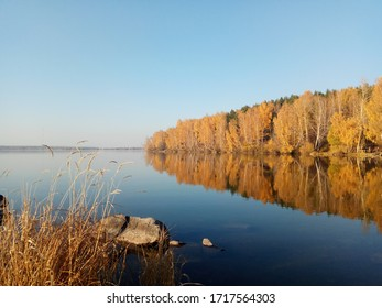 Beauliful picture, photo of a autumn landscape, forest lake, fall views, a reflection of a autumn forest in the lake, reflection in the water - Shutterstock ID 1717564303