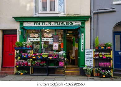 Beaumaris, Isle of Anglesey, North Wales, UK November 2014. A view of the front of a small florist shop with flowers and plants for sale outside. Beaumaris.