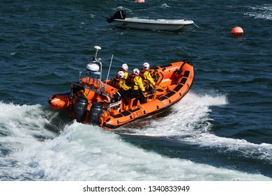 The Beaumaris lifeboat (Atlantic 85 class) gives a demonstration on lifeboat day. Beaumaris, Anglesey - Beaumaris Lifeboat day June 2 2018: