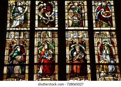 Beaumont le Roger, France - june 22 2017 : stained glass window in the church