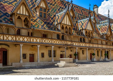 Beaune. France. 06.09.18. Hospices de Beaune or Hotel-Dieu de Beaune, a medieval hospital in Beaune in the Burgundy region of eastern France. Founded in 1443 as a charitable almshouse.