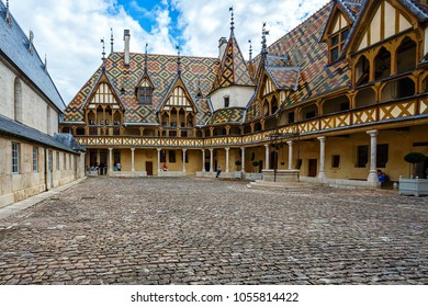 BEAUNE, FRANCE - AUGUST 10, 2017: The Hospices de Beaune is a former charitable almshouse in Beaune. It was founded in 1443 by Nicolas Rolin