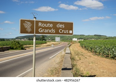 BEAUNE, FRANCE - JULY 21, 2015: Sign of the great wine vineyard in Burgundy.