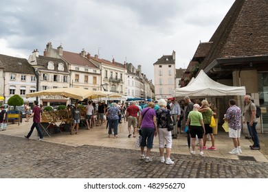 BEAUNE, FRANCE - JULY 21, 2015: Market in the city center.