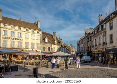BEAUNE,FRANCE - AUGUST 28,2015 - Museum of Dali with Clock Tower in Beaune. Beaune is the wine capital of Burgundy. It is located between Paris and Geneva.