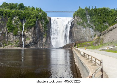 BEAUPORT, QUEBEC/CANADA - JUNE 14, 2010: Violent drop at Montmorency Falls turns into peaceful eddy