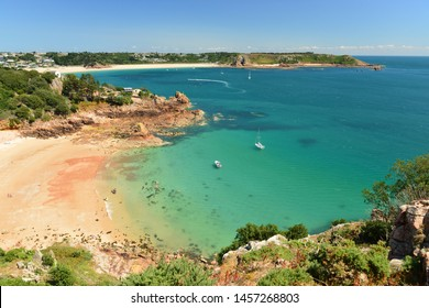 Beauport and St Brelade Bays, Jersey, U.K. Picturesque view from cliffs in the Summer.