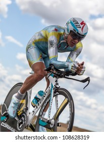 BEAUROUVRE,FRANCE -JULY 21:The Kazakh cyclist Fofonov Dmitriy from Astana Pro Team pedaling during the 19th stage of Le Tour de France 2012- a time trial  between Bonneval and Chartres, France on July 21, 2012