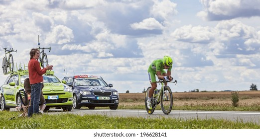 BEAUROUVRE,FRANCE,JUL 21:Image of the Slovak cyclist Sagan Peter (Liquigas-Cannondale team) wearing The Green Jersey during the 19 stage- a time trial between Bonneval and Chartres on July 21 2012.