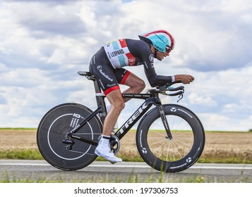 BEAUROUVRE,FRANCE,JUL 21:The American cyclist Christopher Horner from Team RadioShack-Nissan pedaling during the 19 stage- a time trial between Bonneval and Chartres on July 21 2012