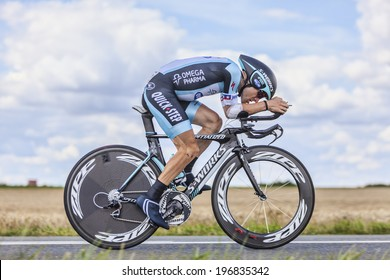 BEAUROUVRE,FRANCE,JUL 21:The American cyclist Levi Leipheimer from Omega Pharma-Quick Step Team pedaling during the 19 stage- a time trial between Bonneval and Chartres on July 21 2012